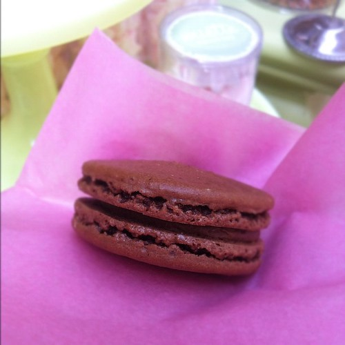 Chocolate lavender macaron