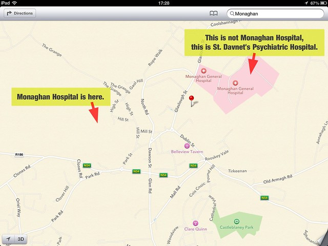 monaghan hospital on apple maps