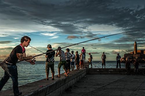 Golden Fishermen...Malecon, Cuba by Rey Cuba