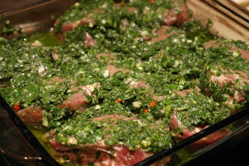 Blade Steak marinating in Chimichurri