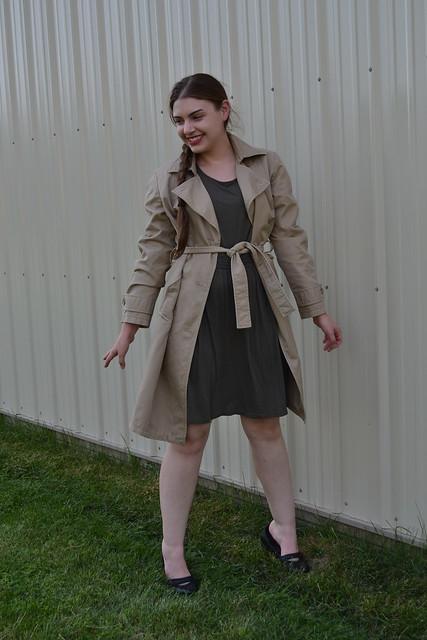 Olive green dress, khaki trench coat