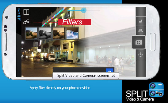 split video and camera filters