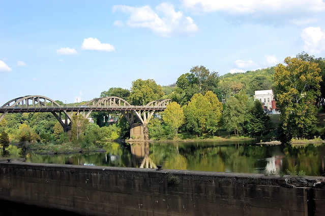 Arched bridge over Cossa River looking toward downtown Wetumpka