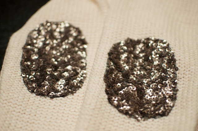 DIY SEQUIN ELBOW PATCH SWEATER 12