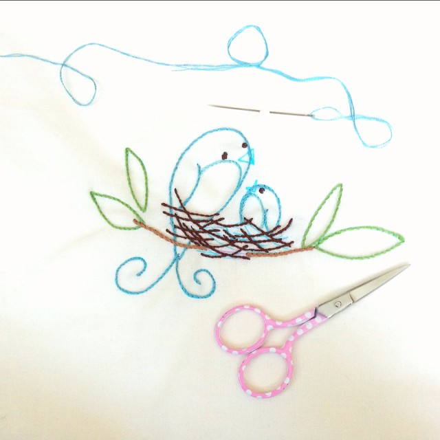 bird stitching- my very first embroidery project.