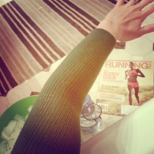Ice bath survival = arm warmers and reading material