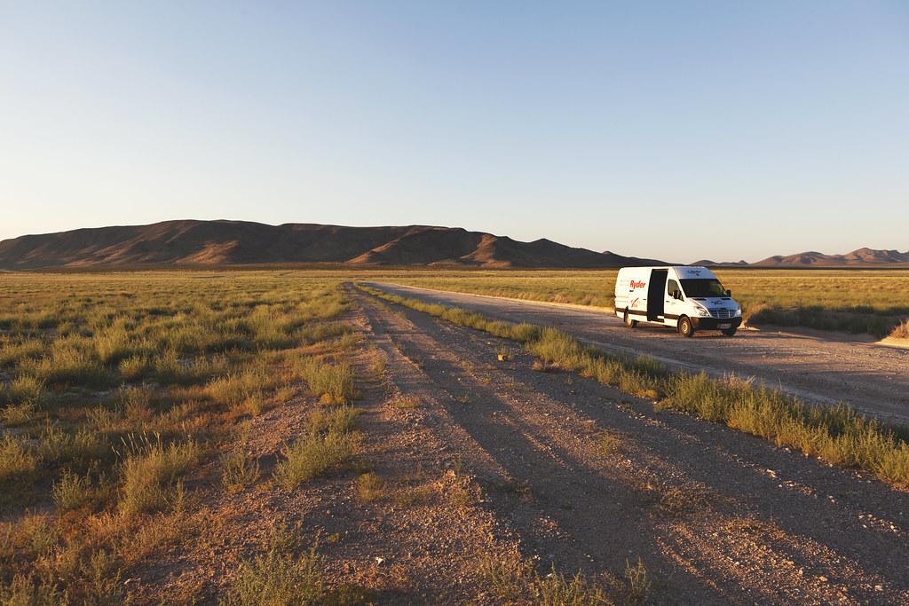 Sprinter in an empty desert