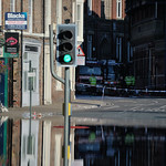 Street and then blur with water