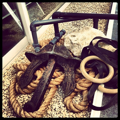 Guess the workout? #rope #rings #stone #anchor #parallelbars #workout #fitness