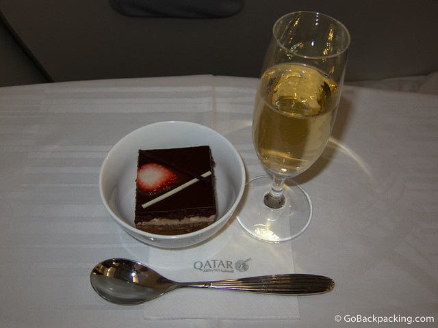 Opera cake for dessert, along with another glass of champagne