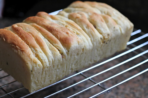 layers of buttery herb bread