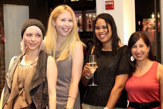 fno 2012 boston, reiss, kara of the bostonista,  marissa of the well-appointed catwalk, and najeema of a stylized hysteria