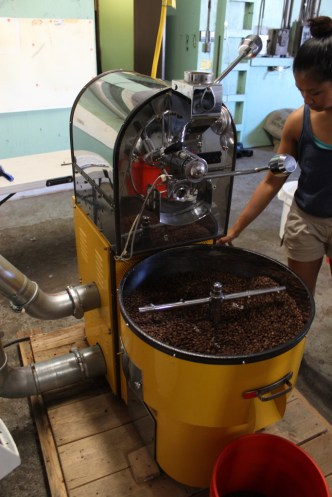Ecky roasting a batch of Greenway Coffee at their new roasting facility