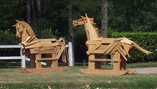 Wooden horses at Chantilly, France.
