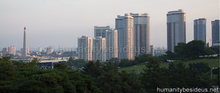 Pyongyang Mansudae area at dusk