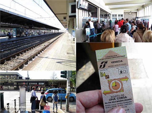 右下角是車票,上面兩張是Mestre車站景觀,左下角是Mestre車站正面景觀。