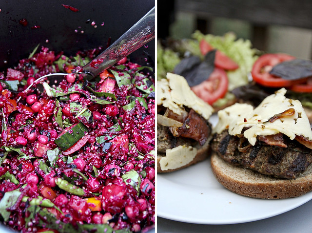 burger and raw beet salad