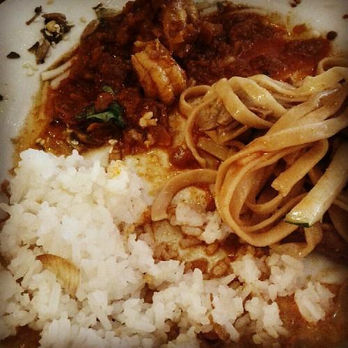 Coconut rice, shrimp curry, garlic noodles