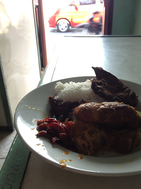 My lunch for that day; grilled chicken and fried lung with rice plus sambal ijo and sambal merah