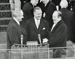 Johnson, Agnew & Humphrey Laugh During Inauguration: 1969