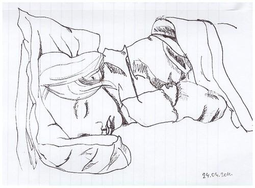 Sketch of my sleeping daughter