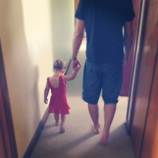 Abbie choose Daddy to take her to ballet this morning. So cute! He's really going to love the waiting room conversation tee hee hee