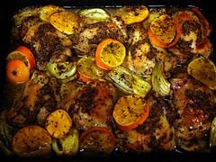 Roast chicken x Pernod x clementines
