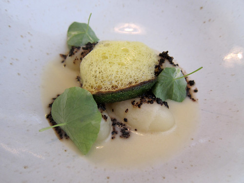 Keen's Dumplings, Cream of Onion, Nasturtiums and Liquorice Powder