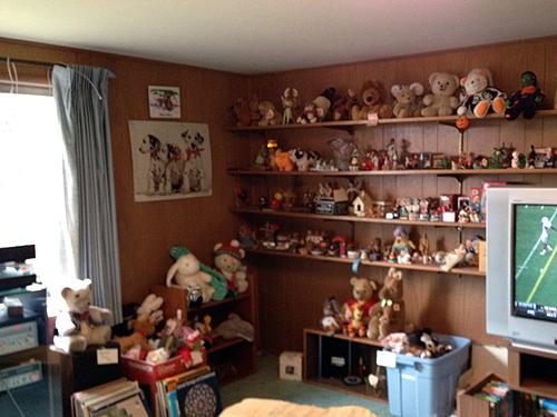 Terrifying stuffed animal room