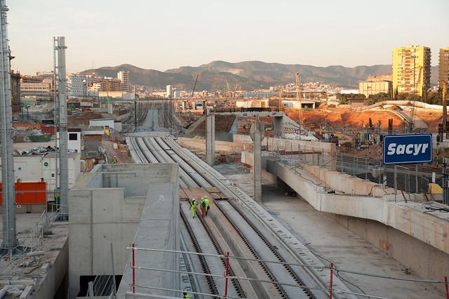 Salida tunel La Sagrera-Sants_Montaje vias AVE 2