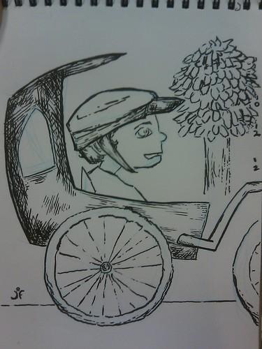 Cartoon Jackson in Bike Trailer by JRFreemanJr