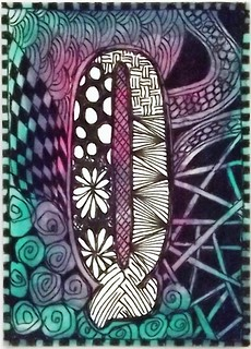 ATC: Zentangled Q with watercolor background