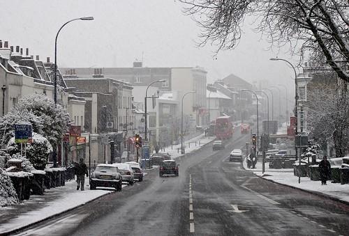Lewisham Way in the snow