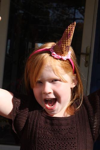 Hooray! I'm 5! (and wearing an ice cream cone party headband)