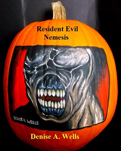 Pumpkin painting by Denise A. Wells - Resident Evil, Nemesis