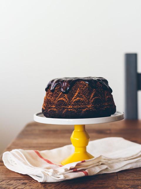 Chocolate stout cake with whiskey ganache
