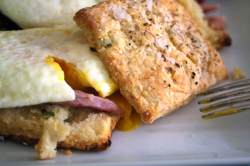 Eggs and biscuits (and a tiny sliver of ham)