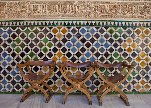 Granada, Spain, Alhambra, palace, colored tile, wooden chairs