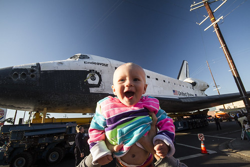 Space Shuttle Endeavour and my daughter by RoyceFH