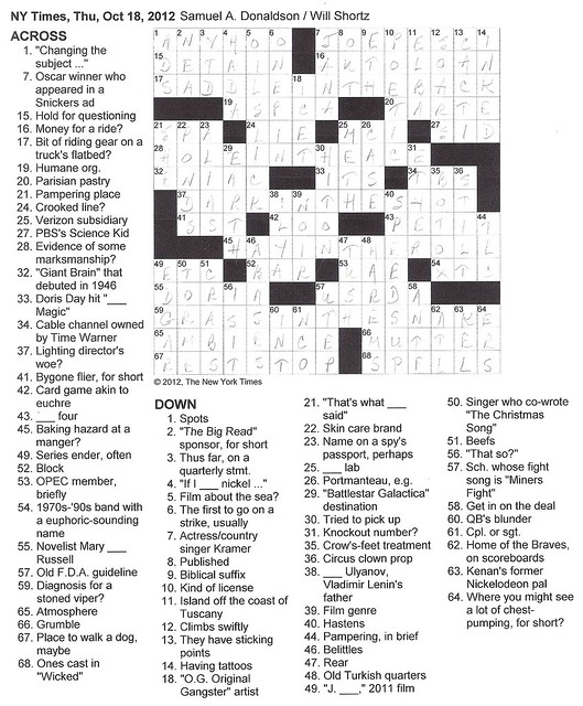 NY Times Puzzle - Thursday, October 18, 2012