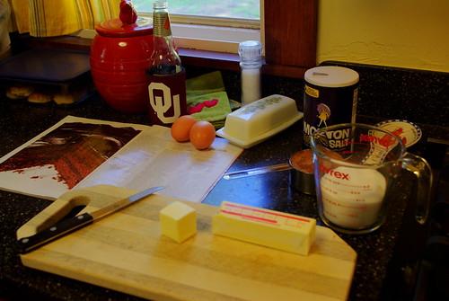 preparing for brownies!