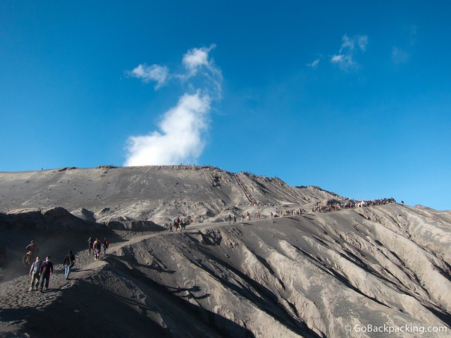 Hiking up to Mount Bromo's crater