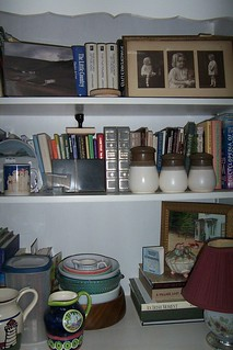 The other china cabinet/shelves being used for books and other things. We need more storage space here!  Note the picture of Paul's Mum as a girl & photo to left of that of Paul driving thru the watersplash in Yorkshire Dales