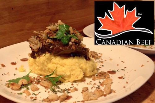 Chef Jason Bangerter's Braised Canadian Beef Cheeks-Creamy Polenta-Crispy Tasty Bits
