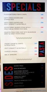 Burger Bar menu- specials, pasta, sides