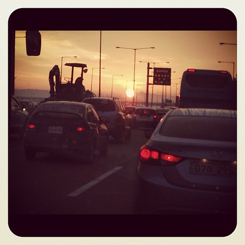 Stuck in Seoul rush hour traffic, but made OK by spectacular sunrise