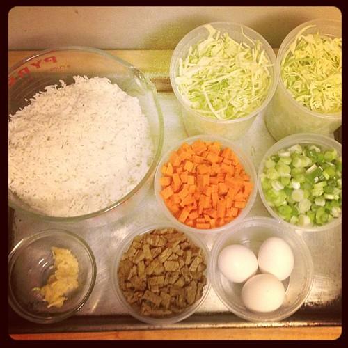 Fried rice mise en place.