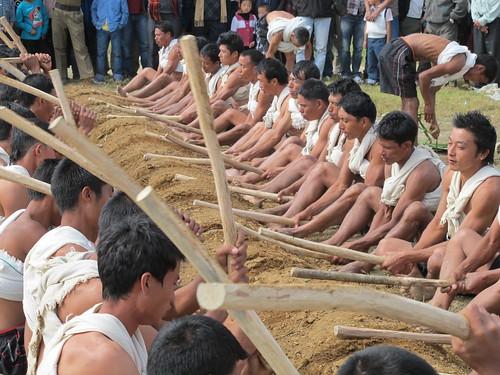 Chishilimi villagers performing Tala Dala, Ahuna 2012, Zunheboto
