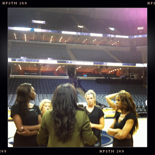 Tamara Moore coaches the Grizz Girls during floor practice.