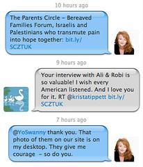 Twitter conversation between Krista Tippett and Swanny